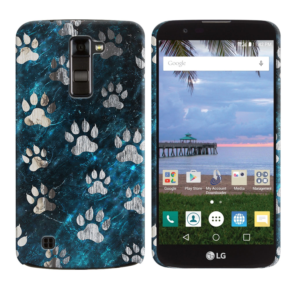 LG K10 Premier LTE L62VL L61AL K428 K430 K420 K420N Silver Dog Paws Back Cover Case
