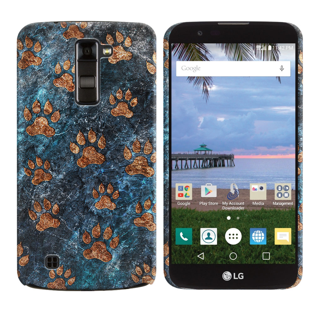 LG K10 Premier LTE L62VL L61AL K428 K430 K420 K420N Stone Dog Paws Back Cover Case