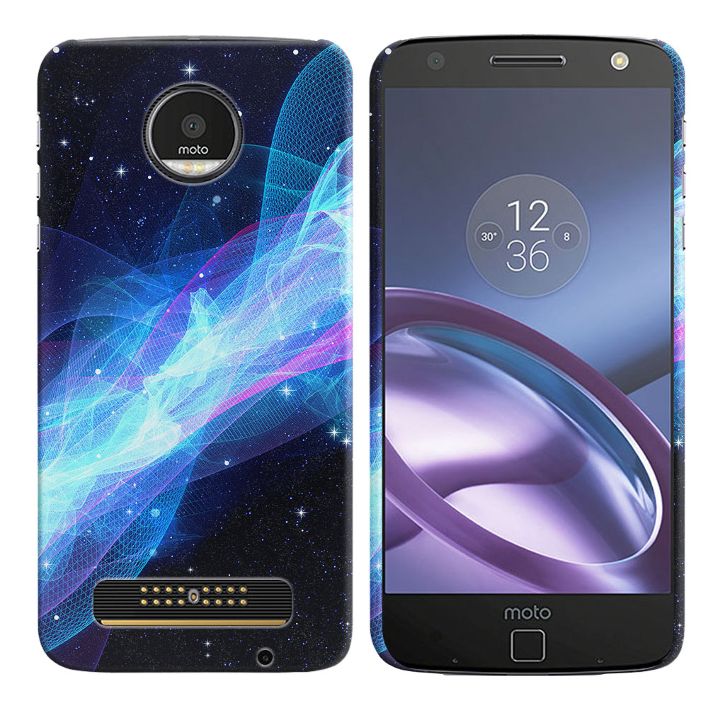 Motorola Moto Z Droid Edition Glowing Space Wave Back Cover Case