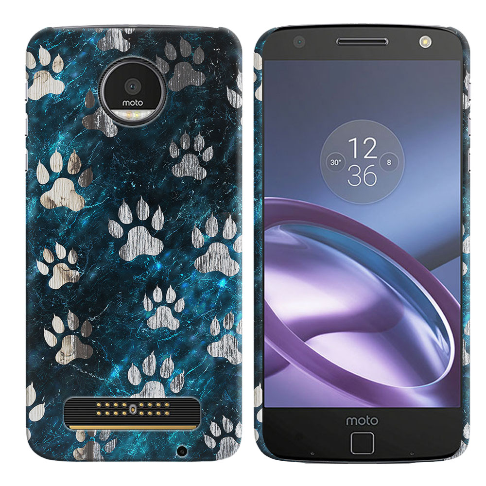 Motorola Moto Z Droid Edition Silver Dog Paws Back Cover Case