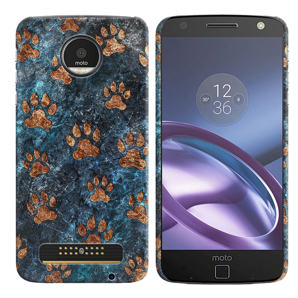 Motorola Moto Z Droid Edition Stone Dog Paws Back Cover Case