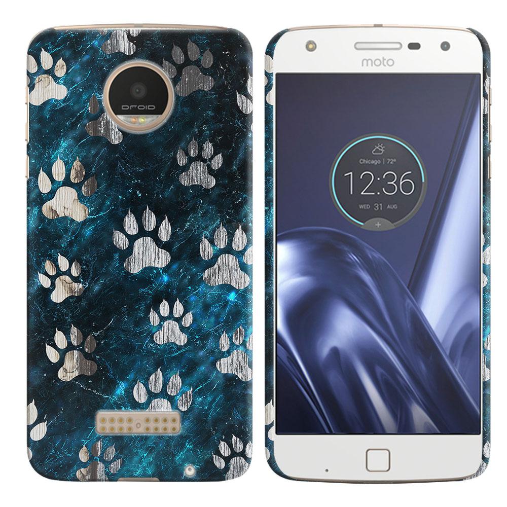 Motorola Moto Z Play Droid XT1635 Silver Dog Paws Back Cover Case