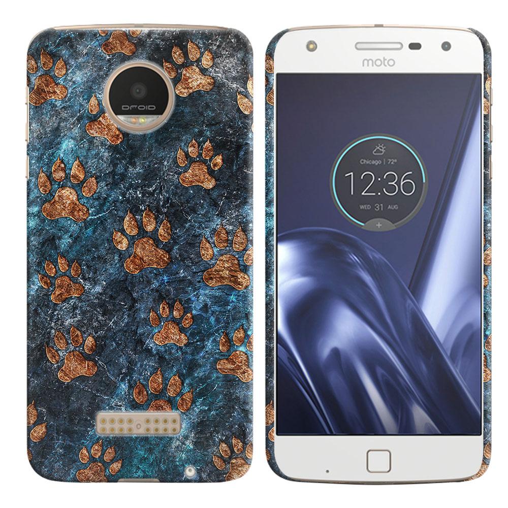 Motorola Moto Z Play Droid XT1635 Stone Dog Paws Back Cover Case