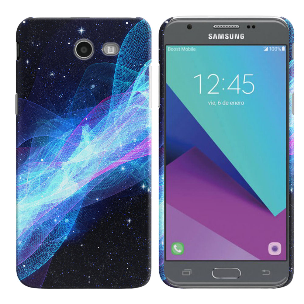 Samsung Galaxy J3 Emerge J327 2017 2nd Gen Glowing Space Wave Back Cover Case
