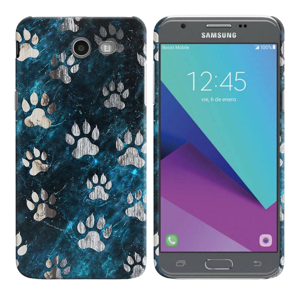 Samsung Galaxy J3 Emerge J327 2017 2nd Gen Silver Dog Paws Back Cover Case