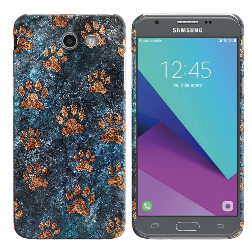 Samsung Galaxy J3 Emerge J327 2017 2nd Gen Stone Dog Paws Back Cover Case