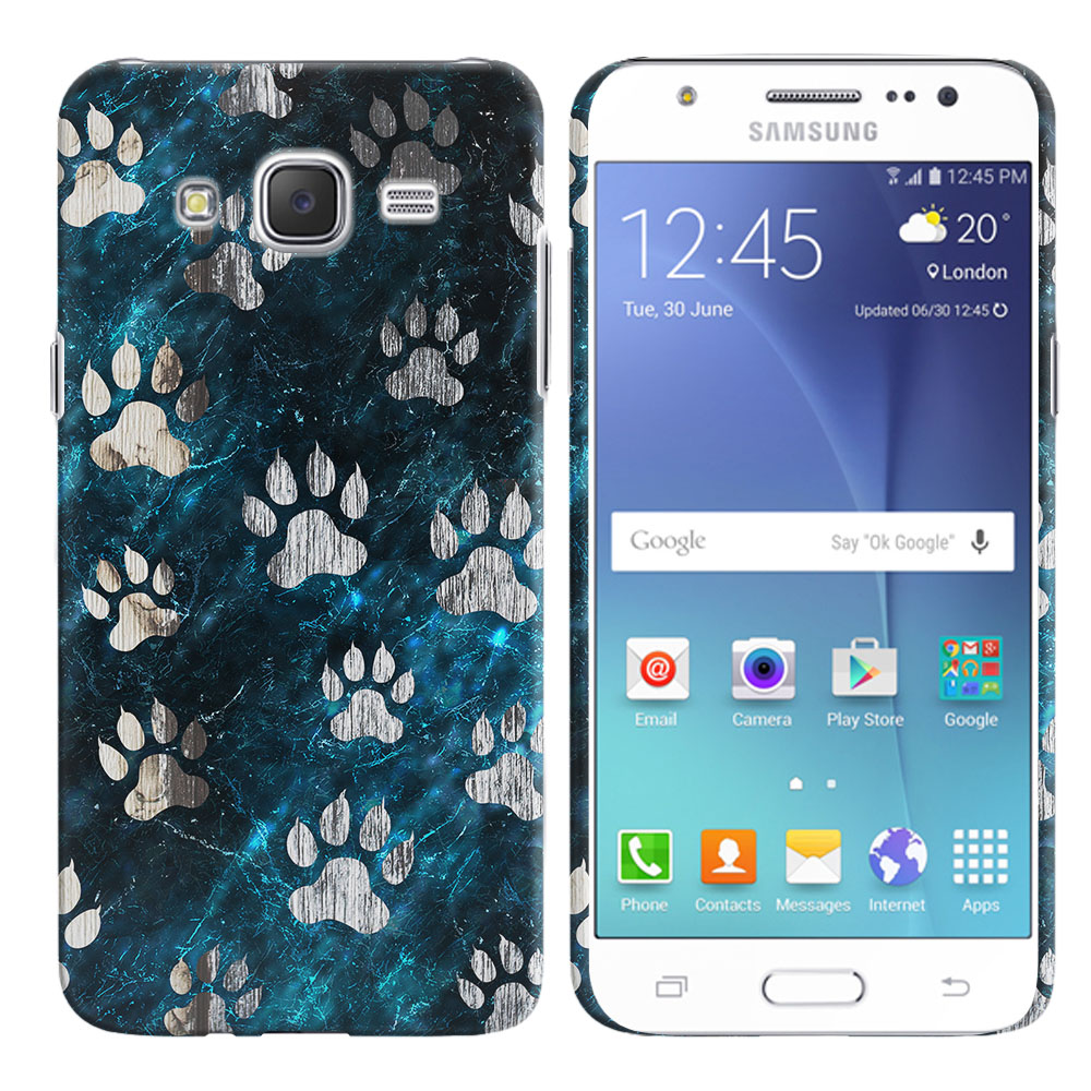 Samsung Galaxy J7 J700 Silver Dog Paws Back Cover Case