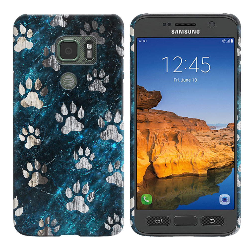 Samsung Galaxy S7 Active G891 Silver Dog Paws Back Cover Case