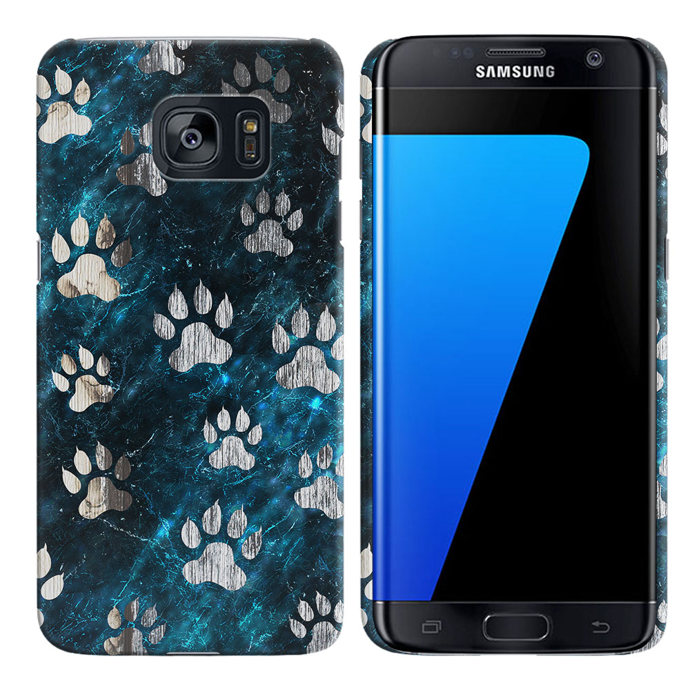 Samsung Galaxy S7 Edge G935 Silver Dog Paws Back Cover Case