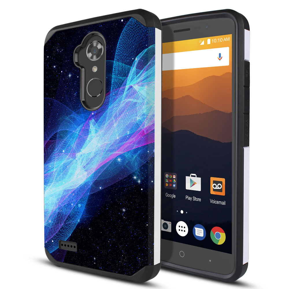 ZTE Max XL N9560 Hybrid Slim Fusion Glowing Space Wave Protector Cover Case