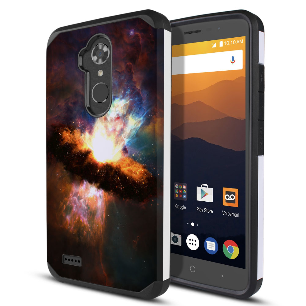 ZTE Max XL N9560 Hybrid Slim Fusion Space Kaboom Protector Cover Case
