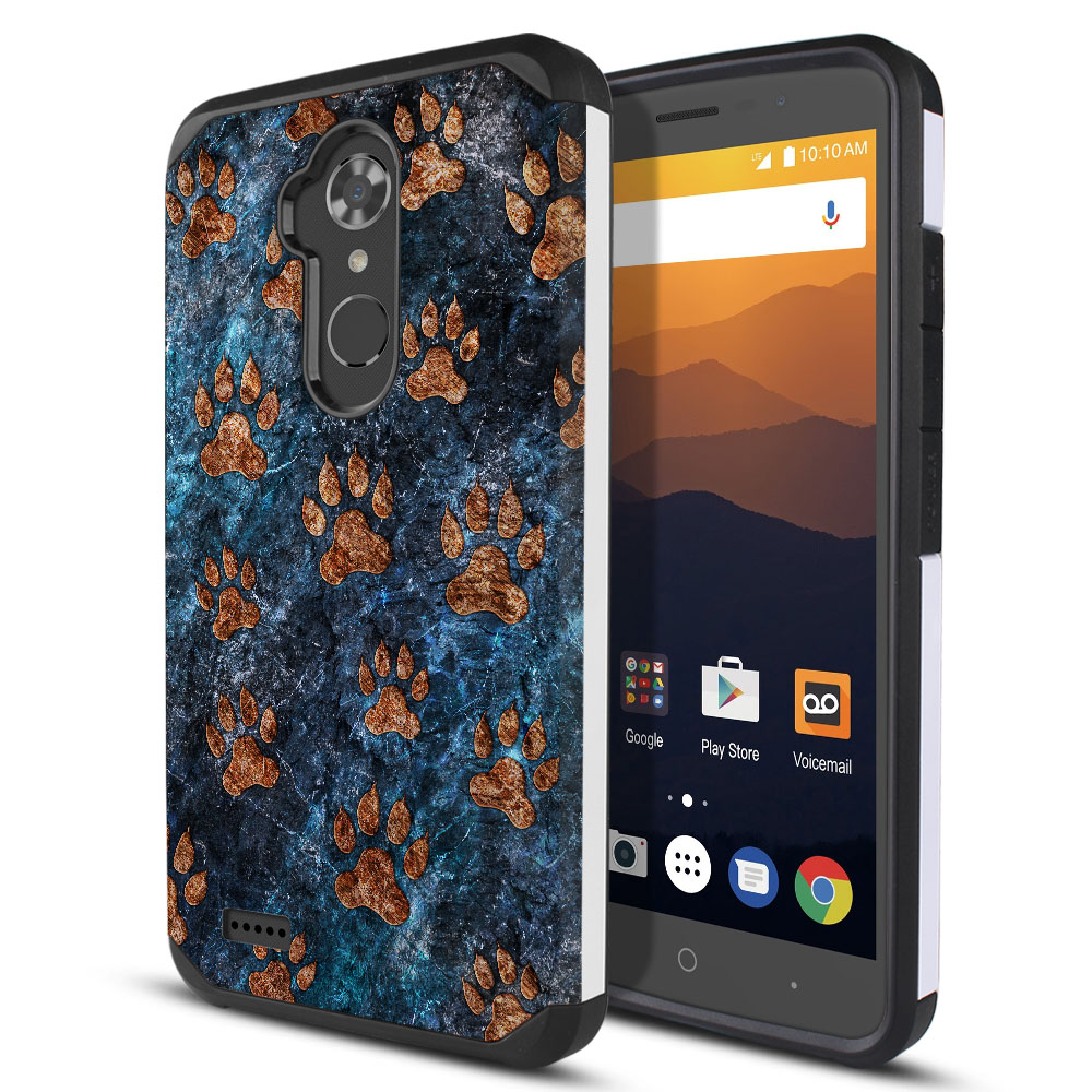 ZTE Max XL N9560 Hybrid Slim Fusion Stone Dog Paws Protector Cover Case
