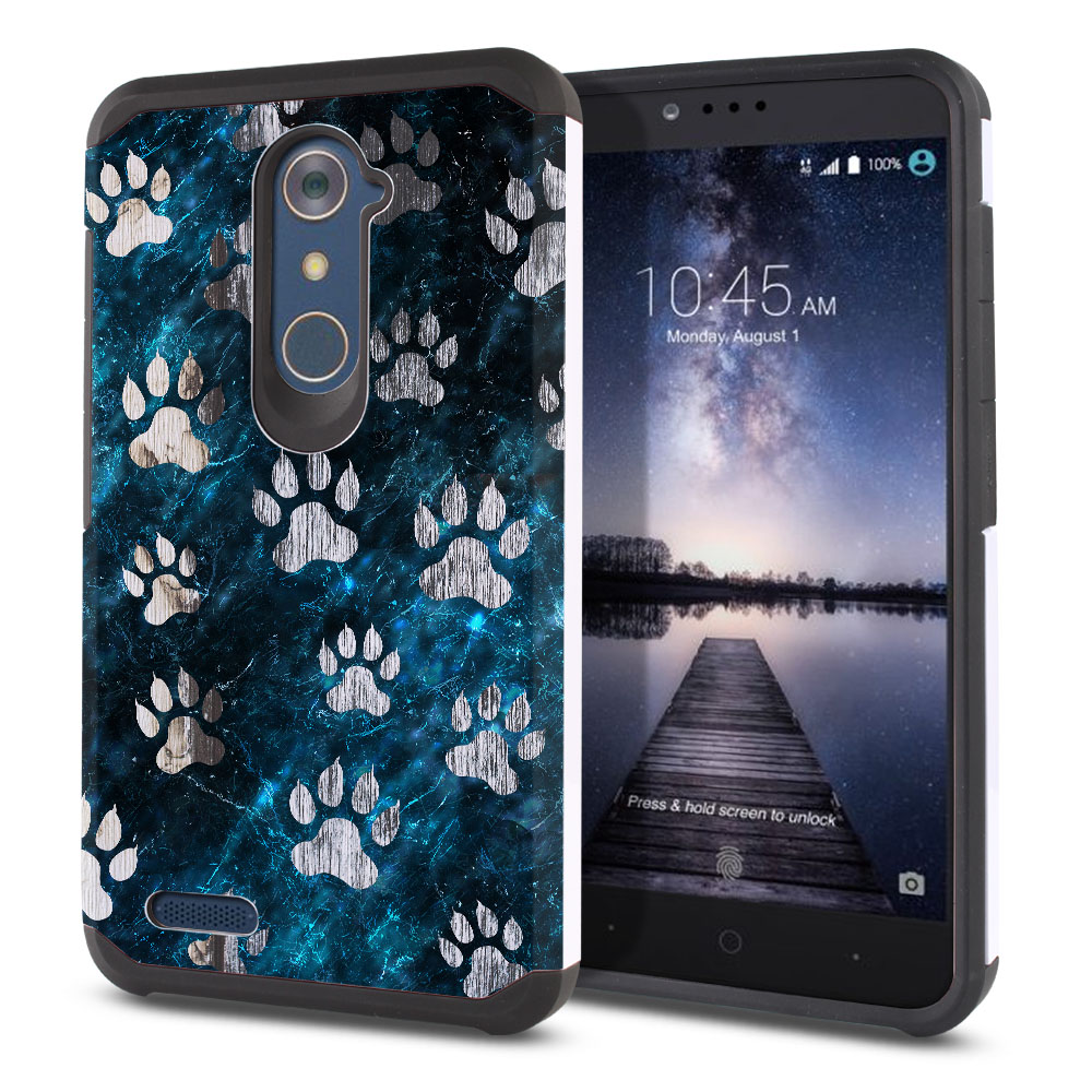 ZTE Zmax Pro Carry Z981 Hybrid Slim Fusion Silver Dog Paws Protector Cover Case