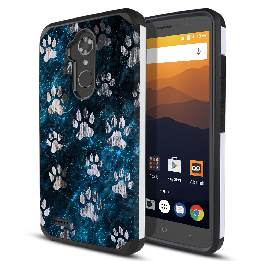 ZTE Max XL N9560 Hybrid Slim Fusion Silver Dog Paws Protector Cover Case