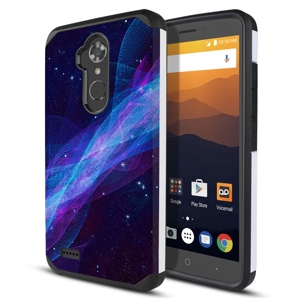 ZTE Max XL N9560 Hybrid Slim Fusion Space Wave Protector Cover Case