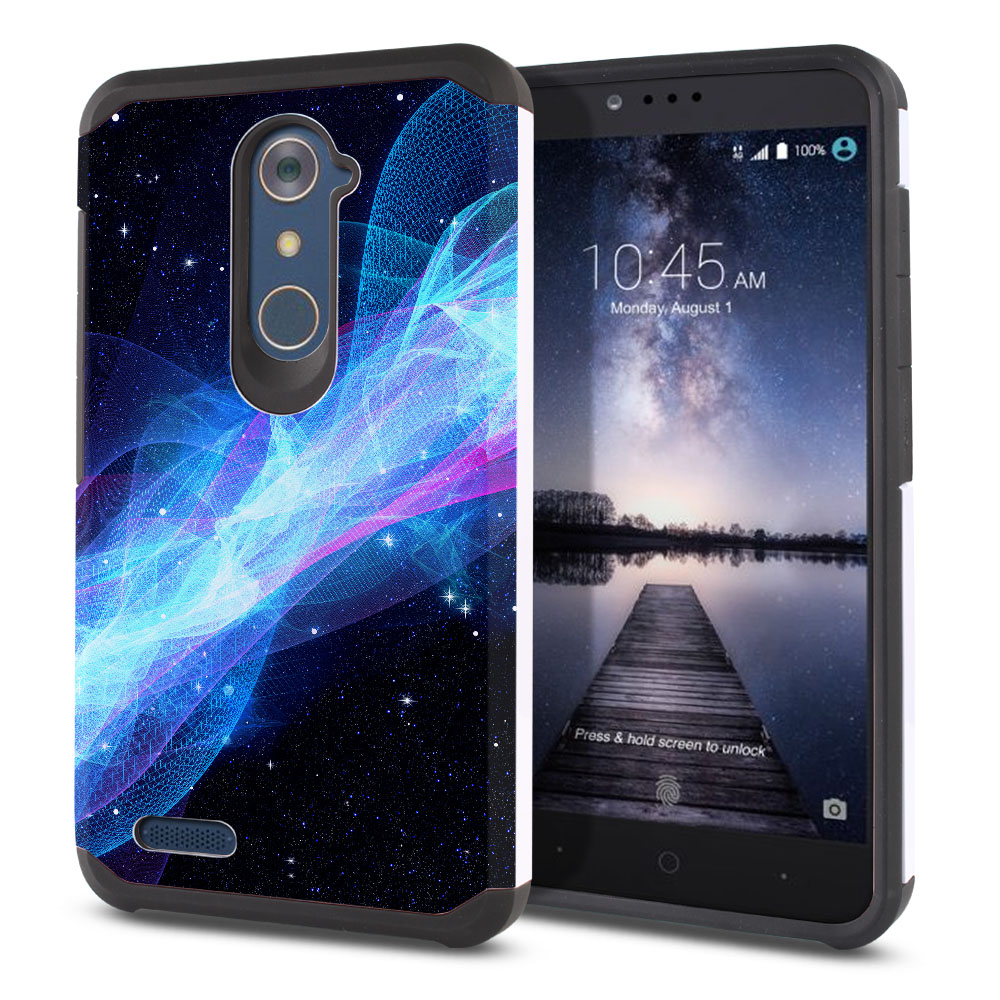 ZTE Zmax Pro Carry Z981 Hybrid Slim Fusion Glowing Space Wave Protector Cover Case