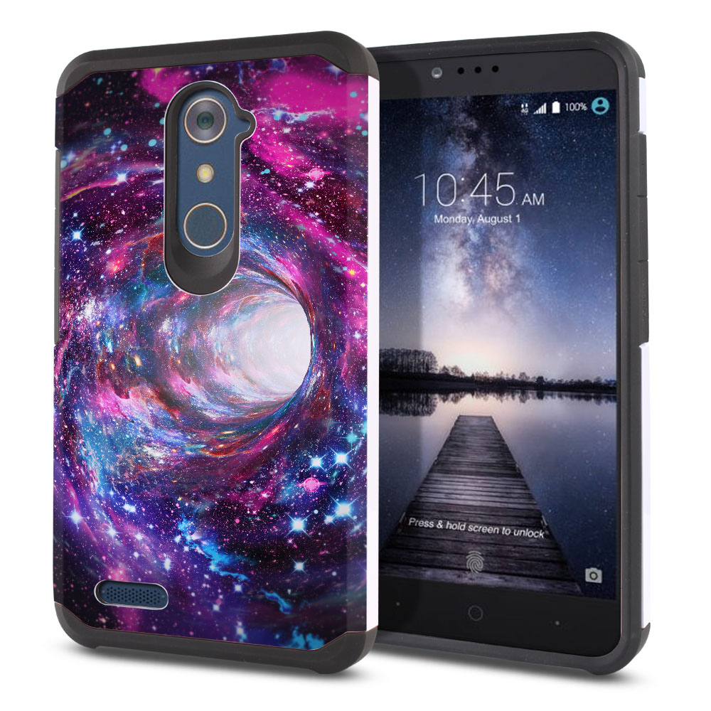ZTE Zmax Pro Carry Z981 Hybrid Slim Fusion Space Wormhole Protector Cover Case