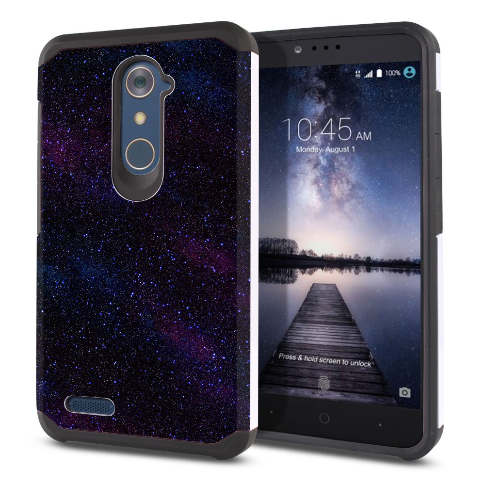 ZTE Zmax Pro Carry Z981 Hybrid Slim Fusion Starry Night Sky Protector Cover Case