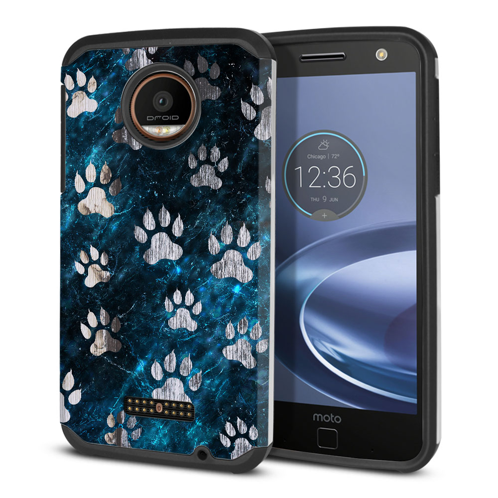 Motorola Moto Z Force Droid Edition Hybrid Slim Fusion Silver Dog Paws Protector Cover Case