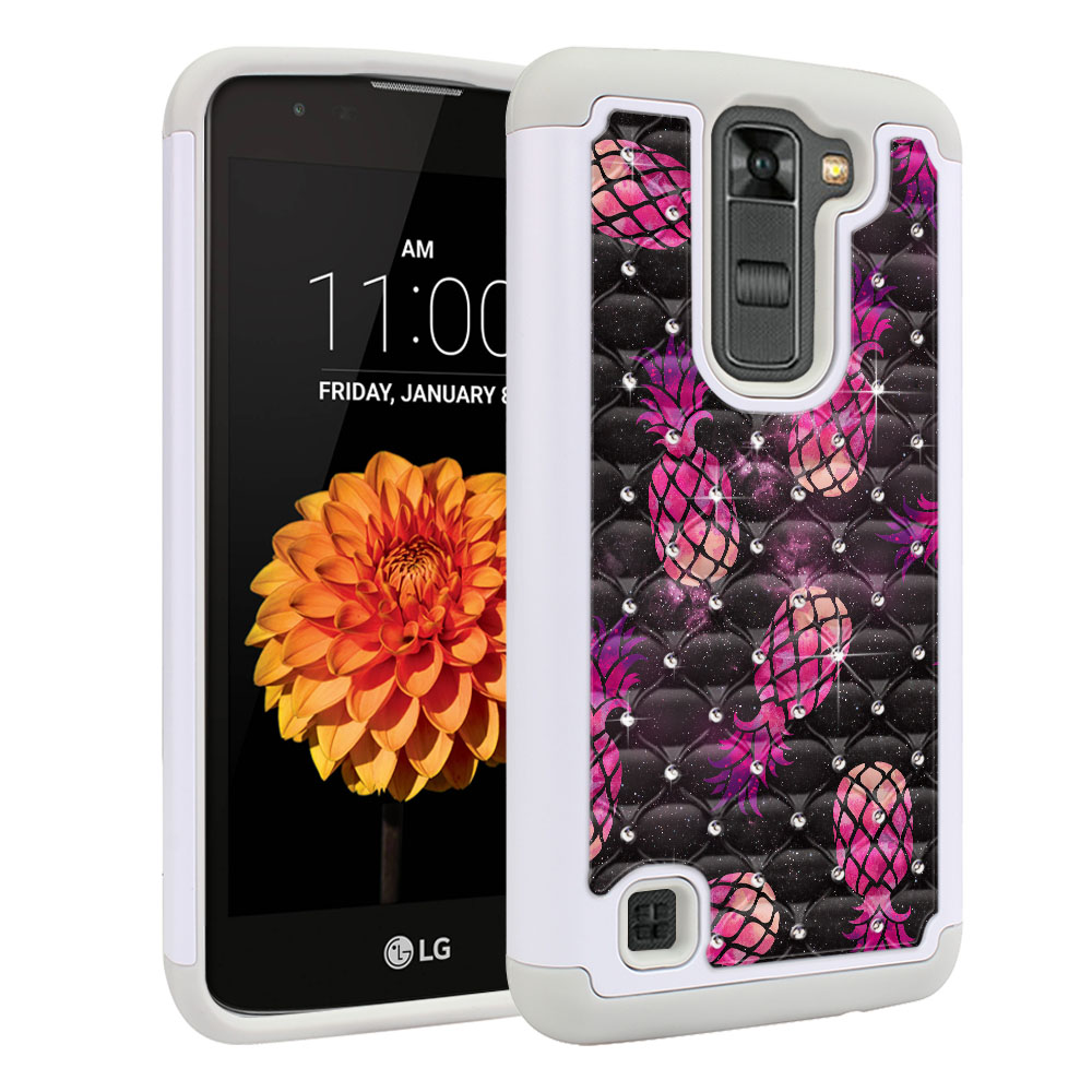 LG K7 Tribute 5 LS675 MS330 M1 Hybrid Total Defense Some Rhinestones Hot Pink Pineapple Pattern In Galaxy Protector Cover Case
