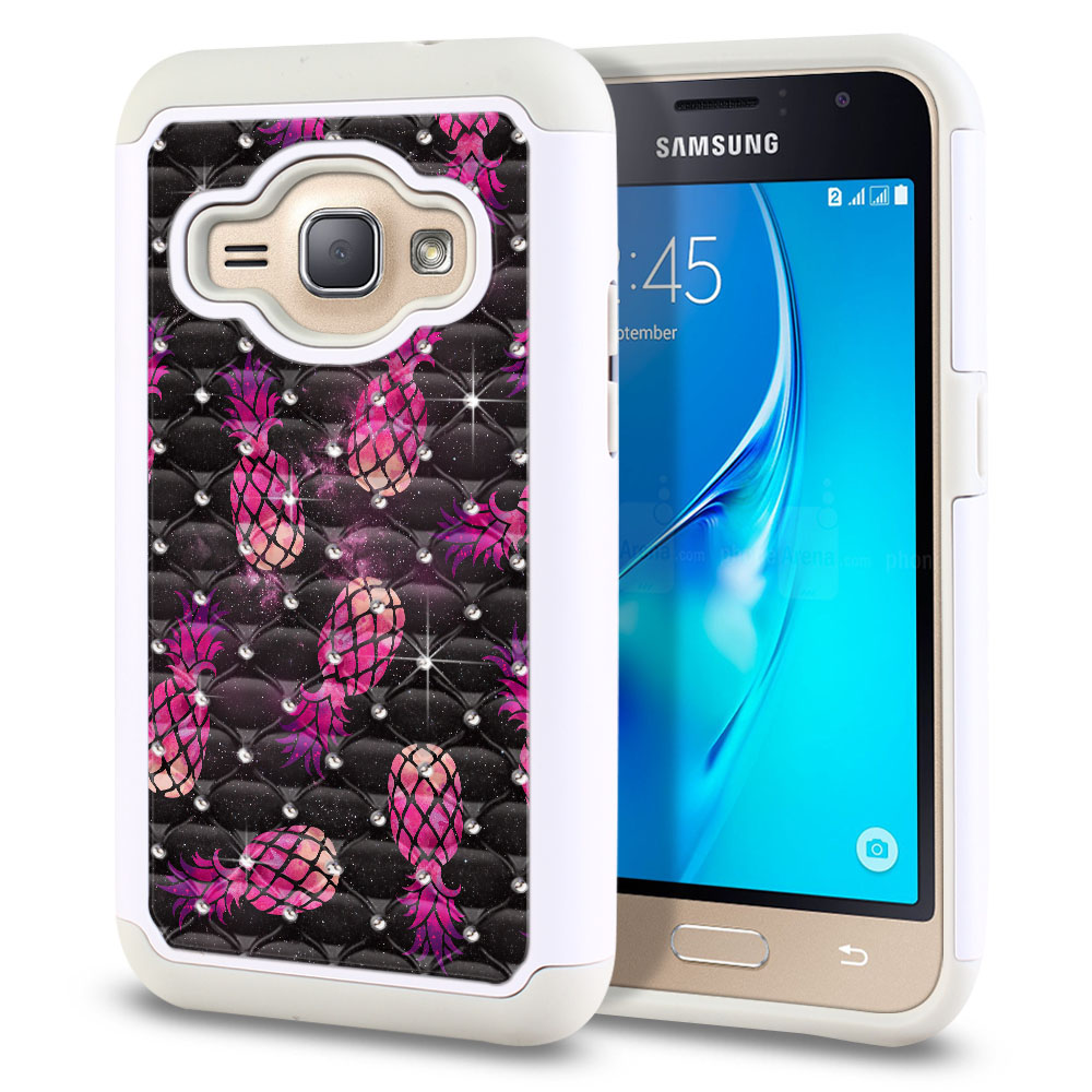 Samsung Galaxy J1 J120 2nd Gen 2016 Hybrid Total Defense Some Rhinestones Hot Pink Pineapple Pattern In Galaxy Protector Cover Case