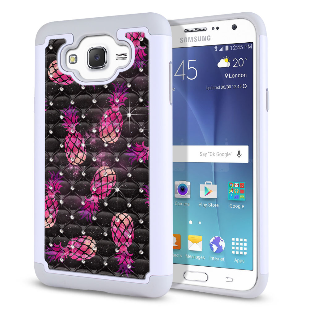 Samsung Galaxy J7 J700 Hybrid Total Defense Some Rhinestones Hot Pink Pineapple Pattern In Galaxy Protector Cover Case