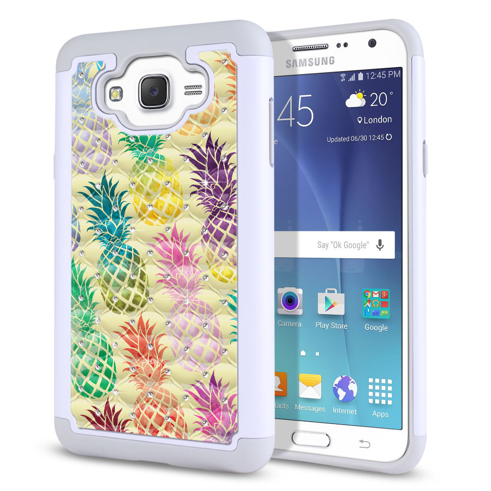 Samsung Galaxy J7 J700 Hybrid Total Defense Some Rhinestones Pastel Colorful Pineapple Yellow Pastel Protector Cover Case