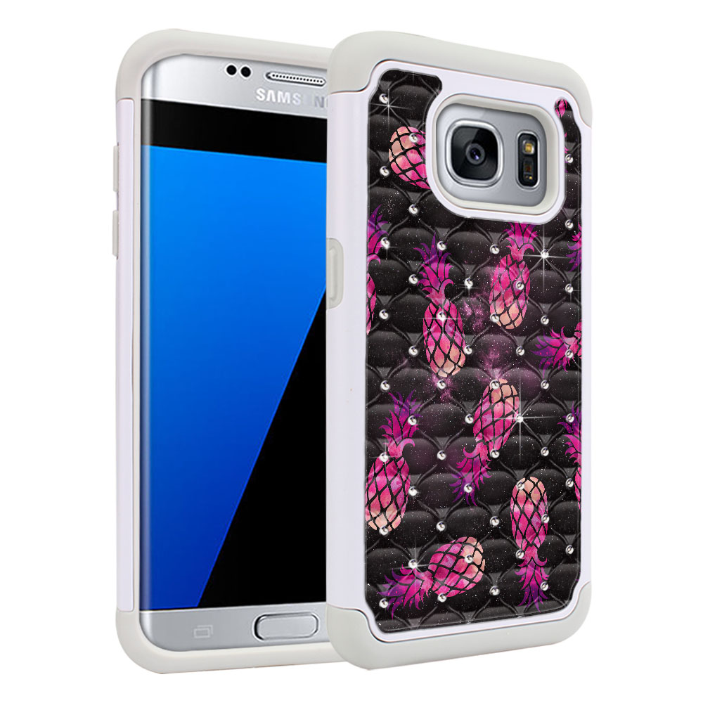 Samsung Galaxy S7 Edge G935 Hybrid Total Defense Some Rhinestones Hot Pink Pineapple Pattern In Galaxy Protector Cover Case