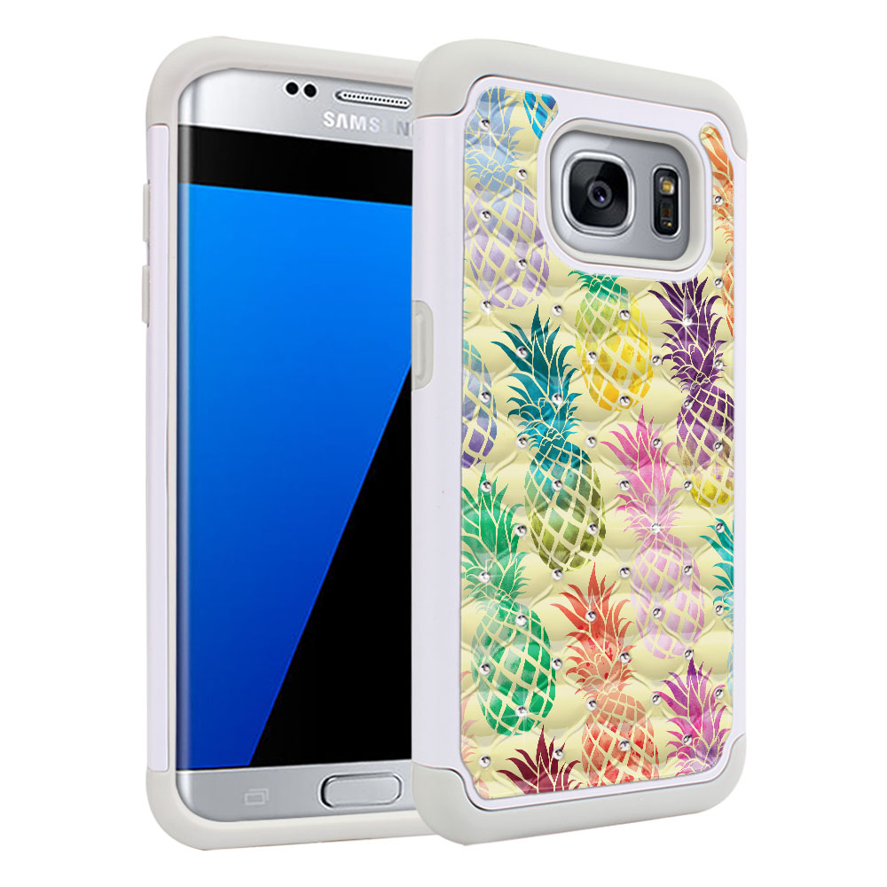 Samsung Galaxy S7 Edge G935 Hybrid Total Defense Some Rhinestones Pastel Colorful Pineapple Yellow Pastel Protector Cover Case