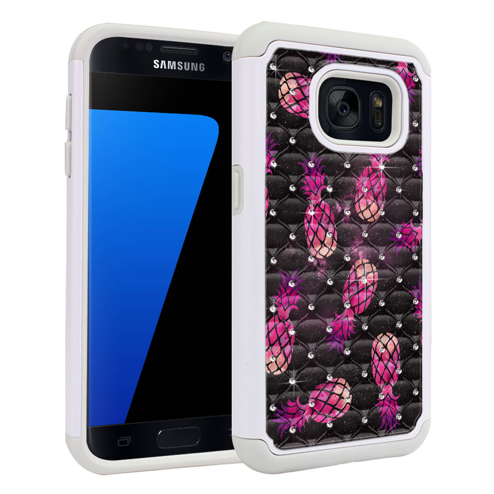 Samsung Galaxy S7 G930 Hybrid Total Defense Some Rhinestones Hot Pink Pineapple Pattern In Galaxy Protector Cover Case