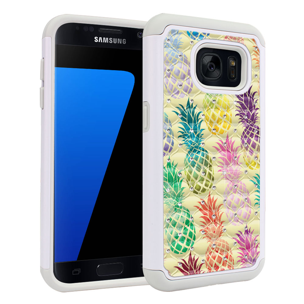 Samsung Galaxy S7 G930 Hybrid Total Defense Some Rhinestones Pastel Colorful Pineapple Yellow Pastel Protector Cover Case