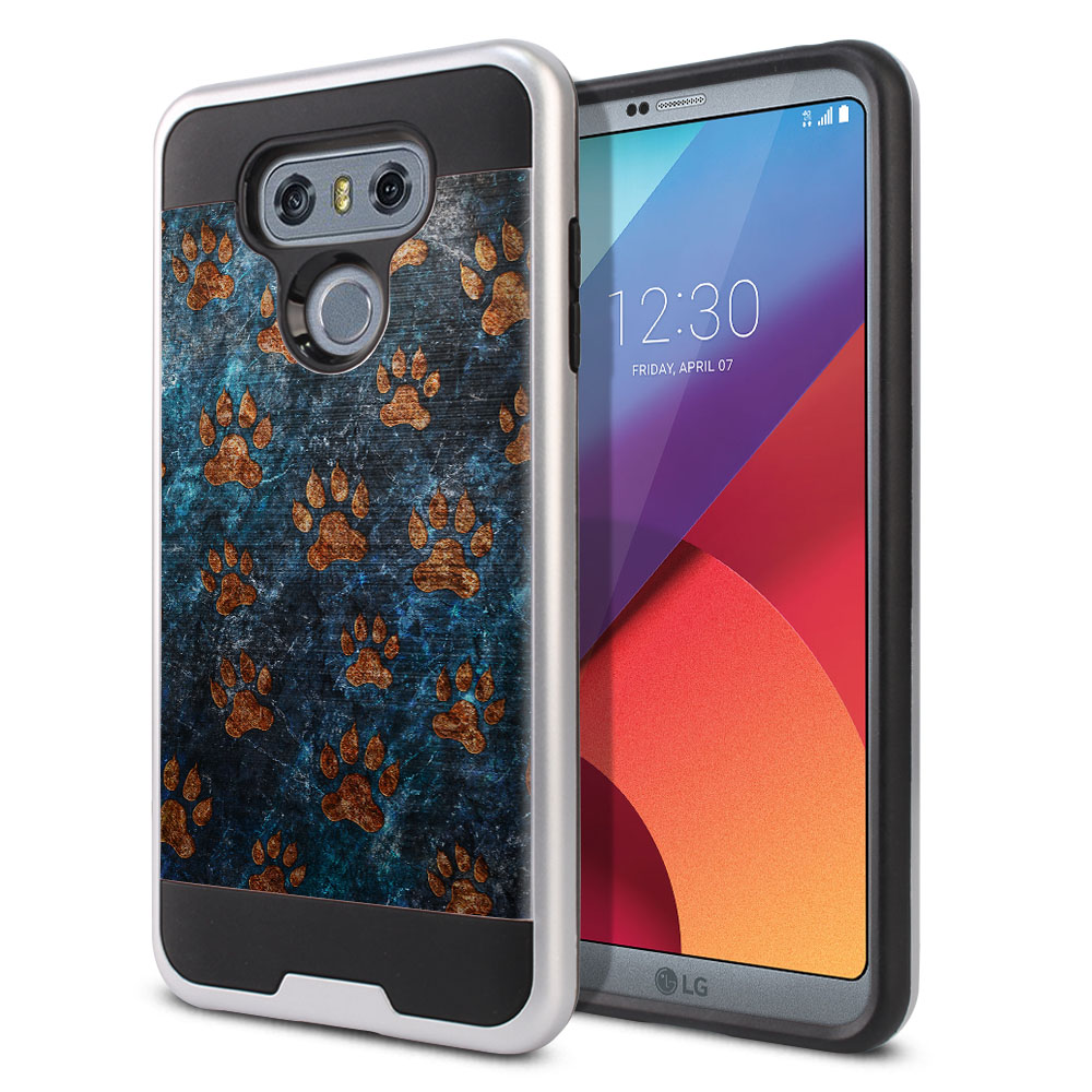 LG G6 H870 Hybrid Fusion Brushed Stone Dog Paws Protector Cover Case