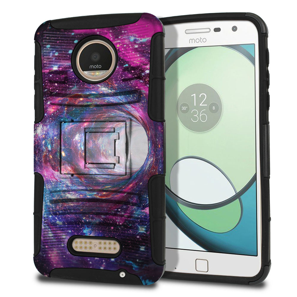 Motorola Moto Z Play Droid XT1635 Hybrid Rigid Stand Space Wormhole Protector Cover Case