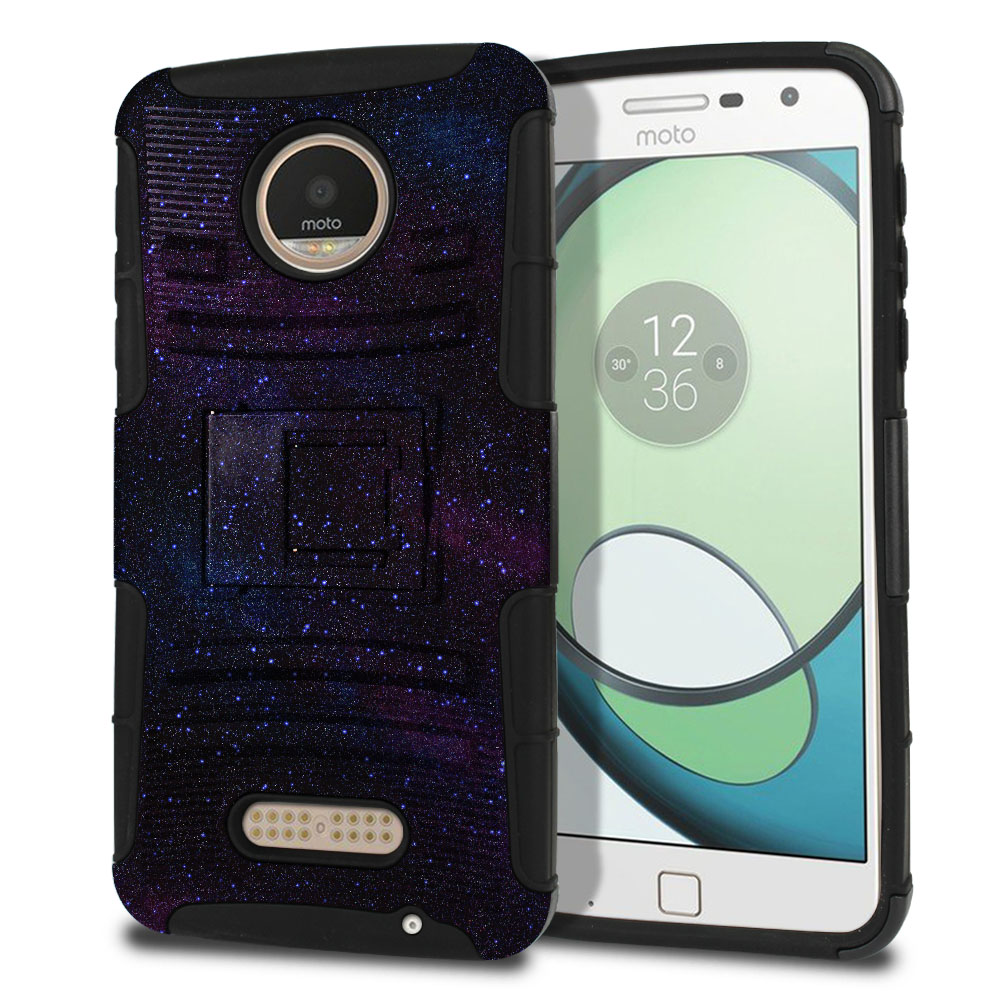 Motorola Moto Z Play Droid XT1635 Hybrid Rigid Stand Starry Night Sky Protector Cover Case