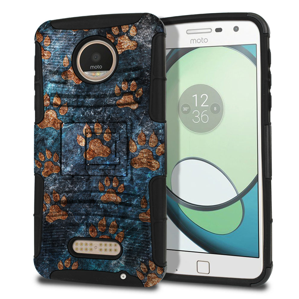 Motorola Moto Z Play Droid XT1635 Hybrid Rigid Stand Stone Dog Paws Protector Cover Case