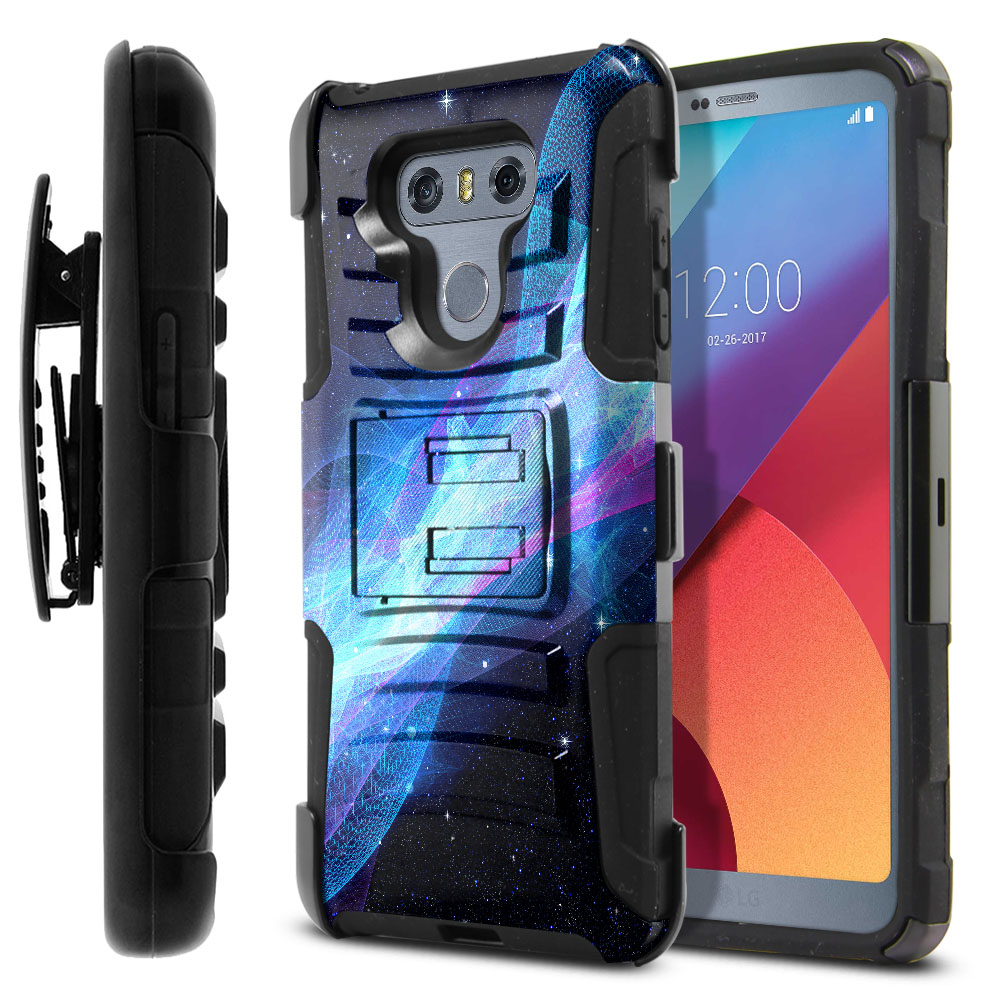 LG G6 H870 Hybrid Rigid Stand Holster Glowing Space Wave Protector Cover Case