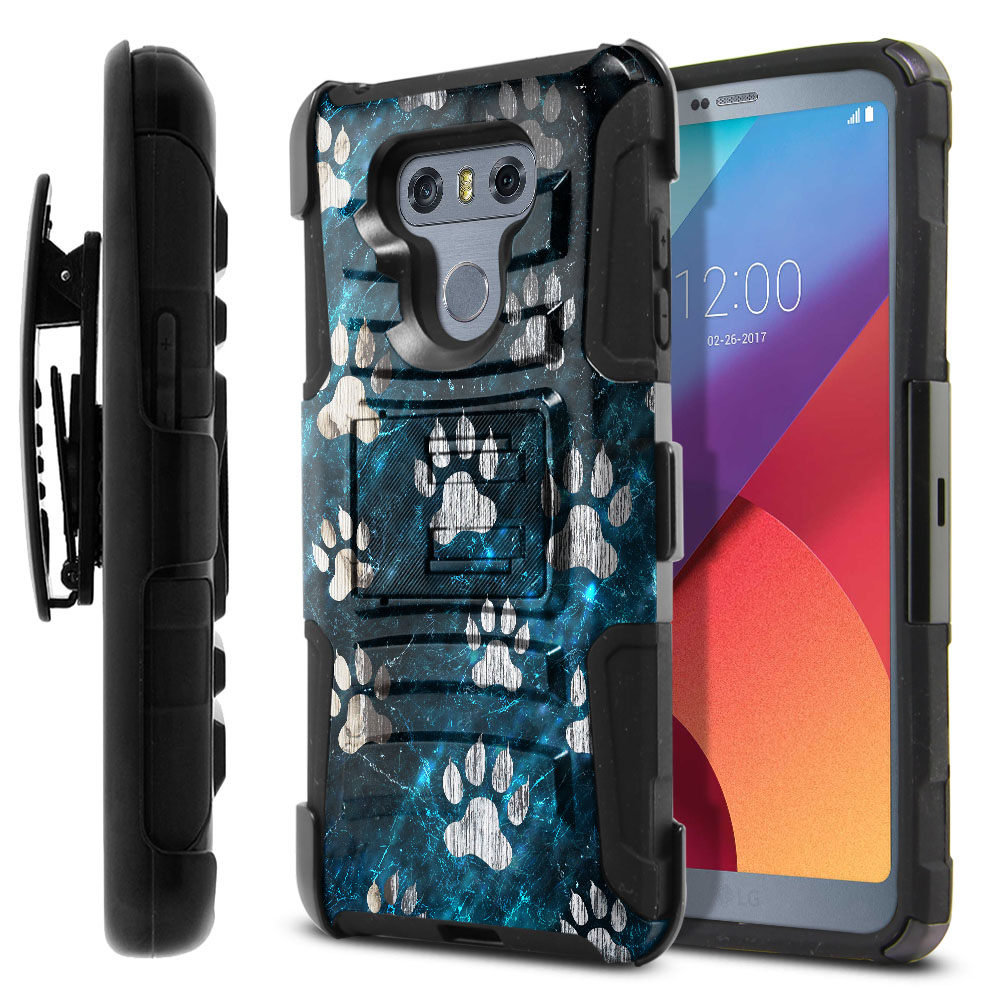 LG G6 H870 Hybrid Rigid Stand Holster Silver Dog Paws Protector Cover Case