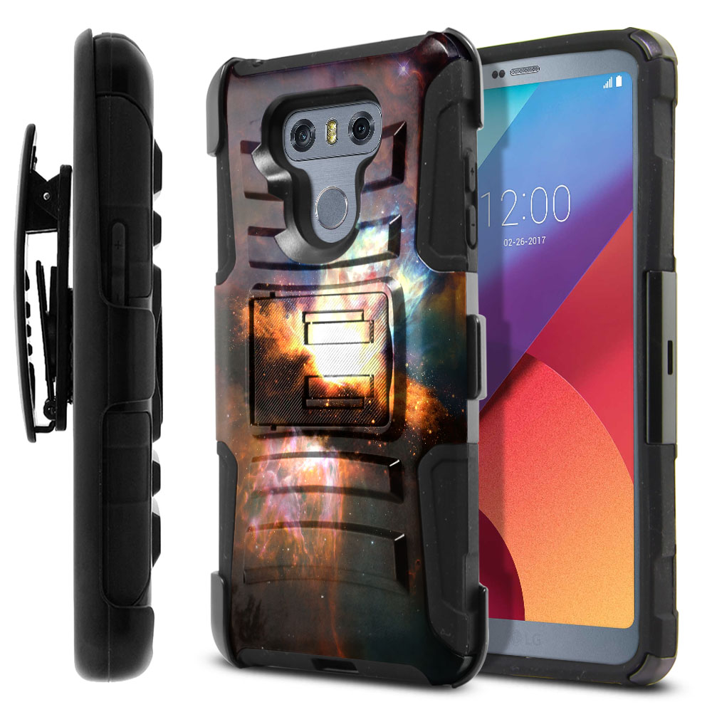 LG G6 H870 Hybrid Rigid Stand Holster Space Kaboom Protector Cover Case