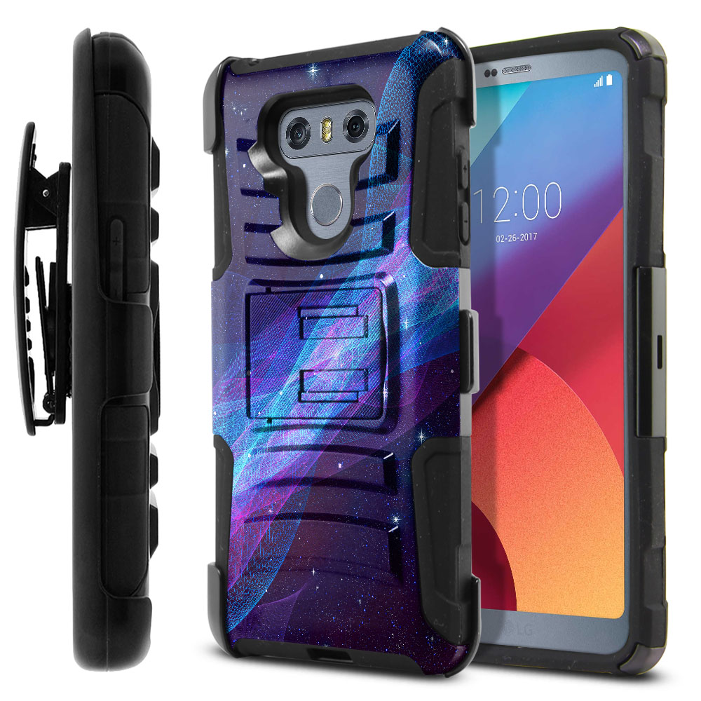 LG G6 H870 Hybrid Rigid Stand Holster Space Wave Protector Cover Case