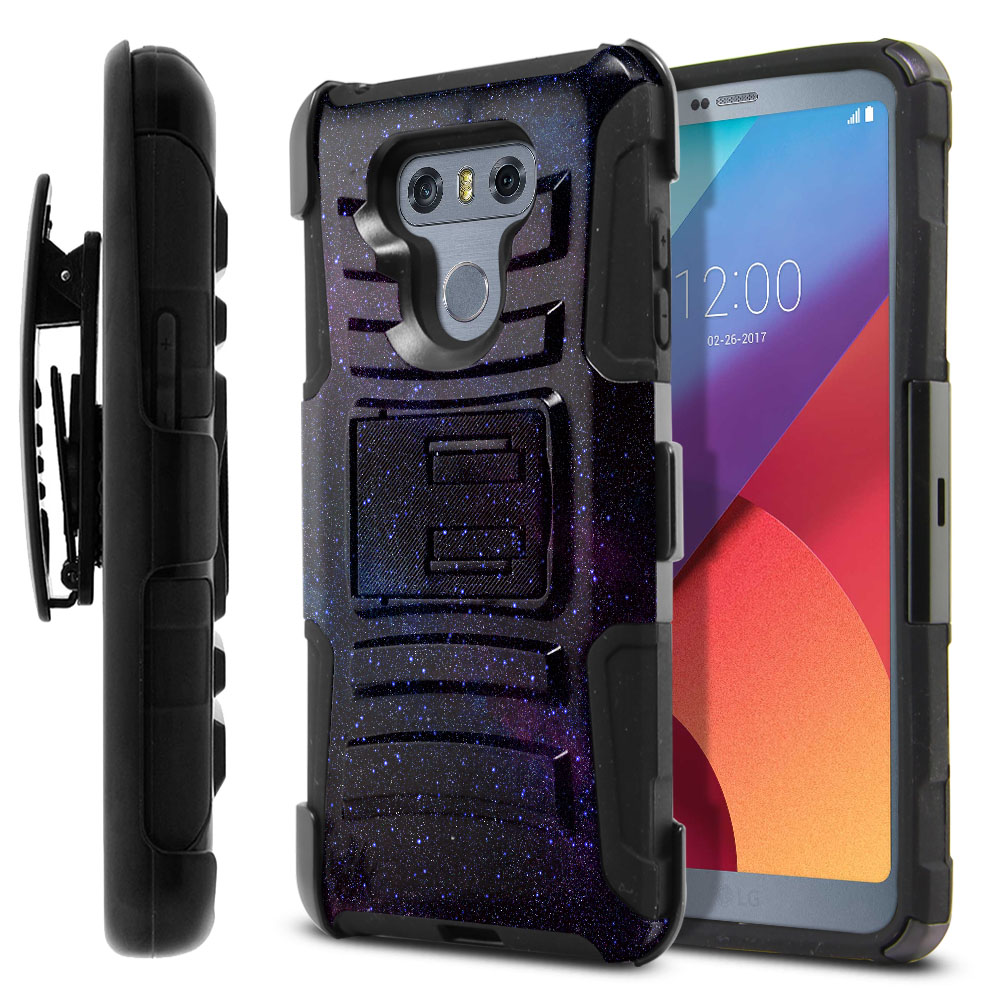 LG G6 H870 Hybrid Rigid Stand Holster Starry Night Sky Protector Cover Case