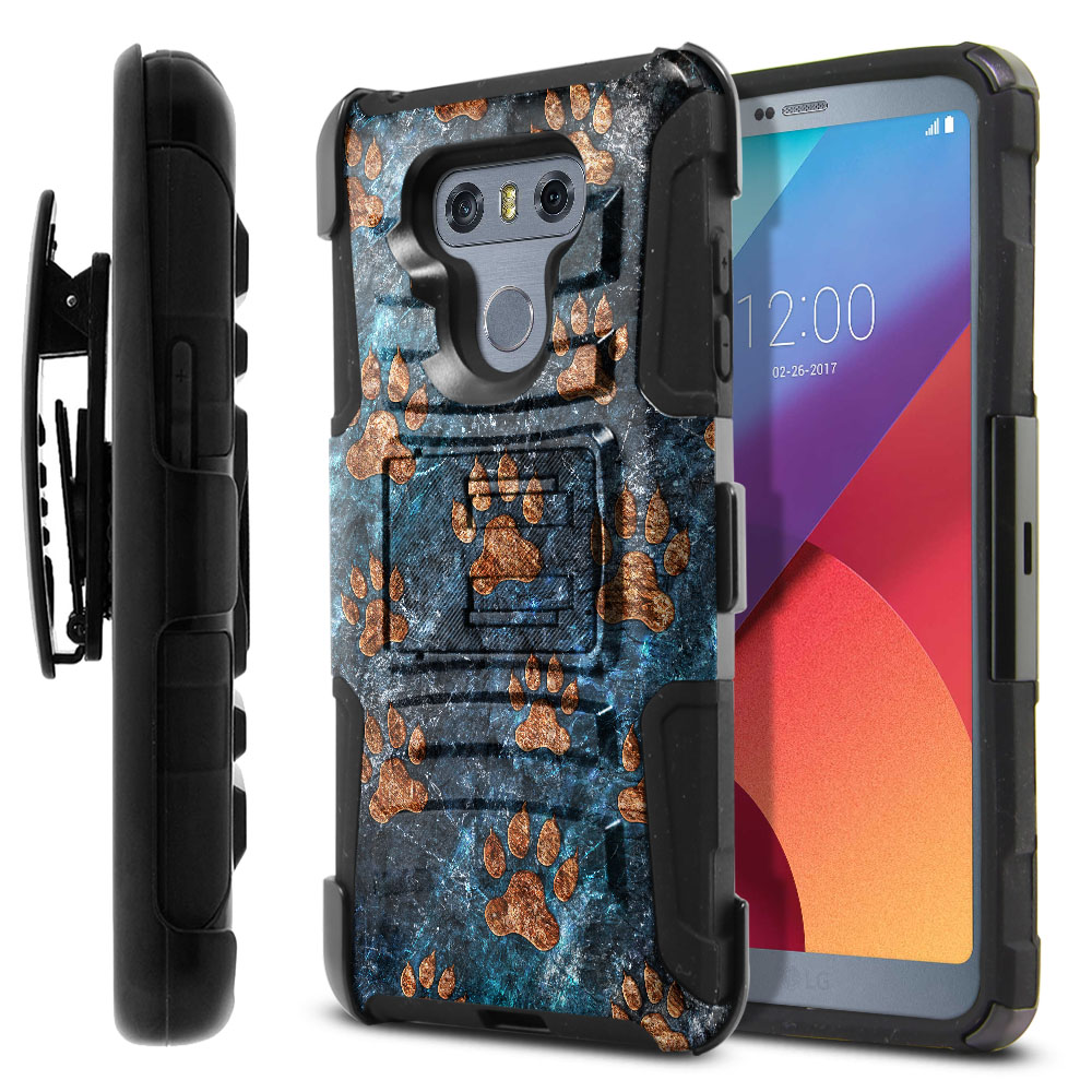 LG G6 H870 Hybrid Rigid Stand Holster Stone Dog Paws Protector Cover Case