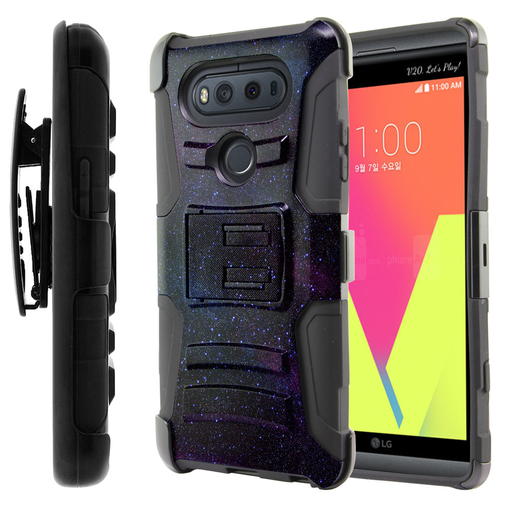 LG V20 VS995 H990 LS997 H910 H918 US996 Hybrid Rigid Stand Holster Starry Night Sky Protector Cover Case