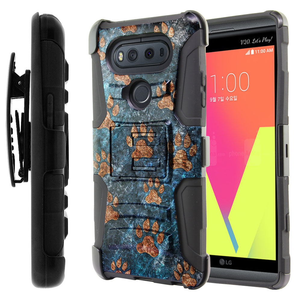 LG V20 VS995 H990 LS997 H910 H918 US996 Hybrid Rigid Stand Holster Stone Dog Paws Protector Cover Case