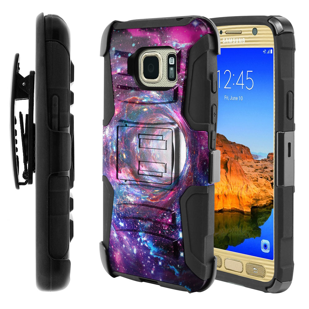 Samsung Galaxy S7 Active G891 Hybrid Rigid Stand Holster Space Wormhole Protector Cover Case