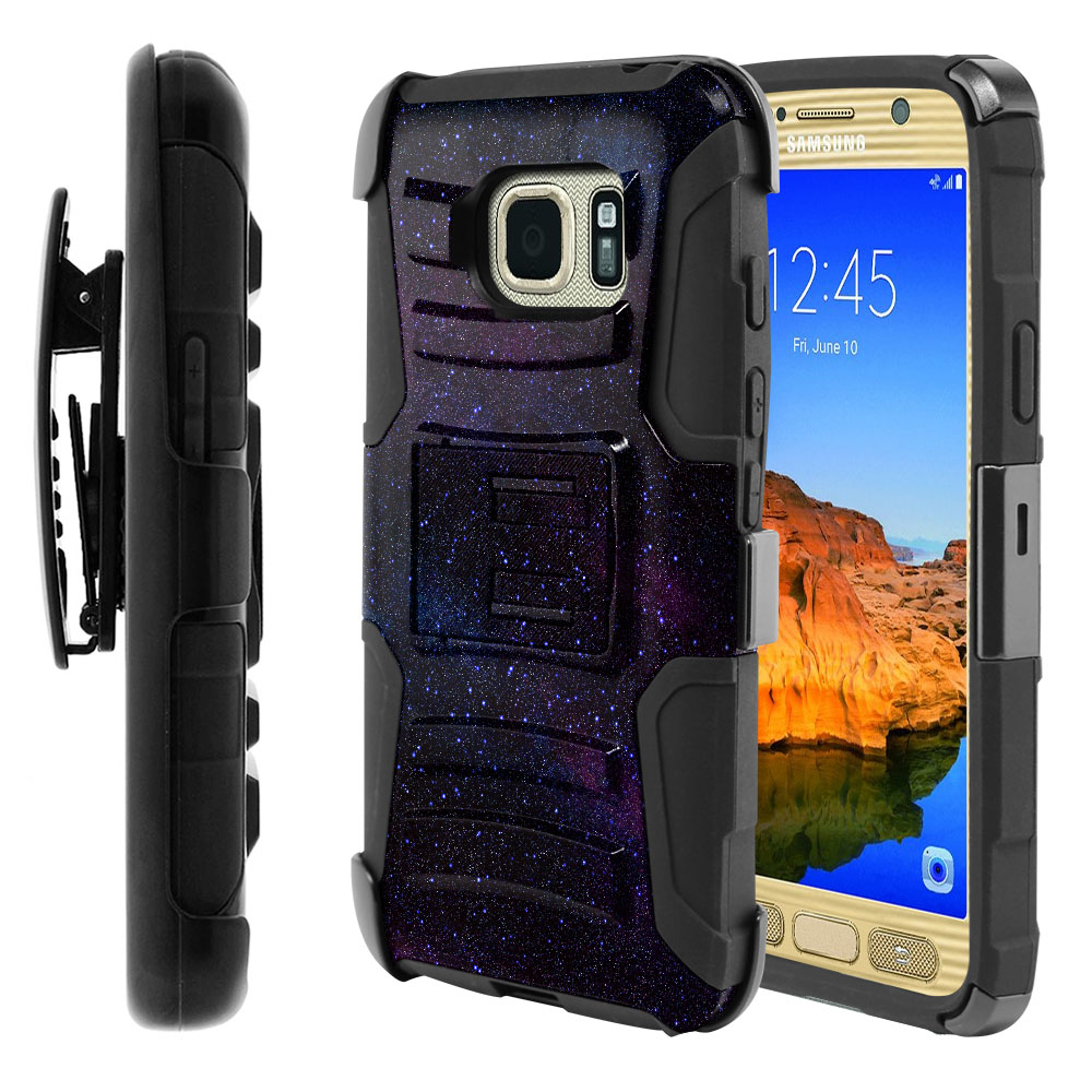 Samsung Galaxy S7 Active G891 Hybrid Rigid Stand Holster Starry Night Sky Protector Cover Case