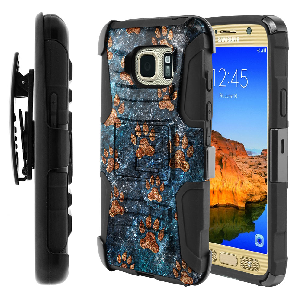 Samsung Galaxy S7 Active G891 Hybrid Rigid Stand Holster Stone Dog Paws Protector Cover Case