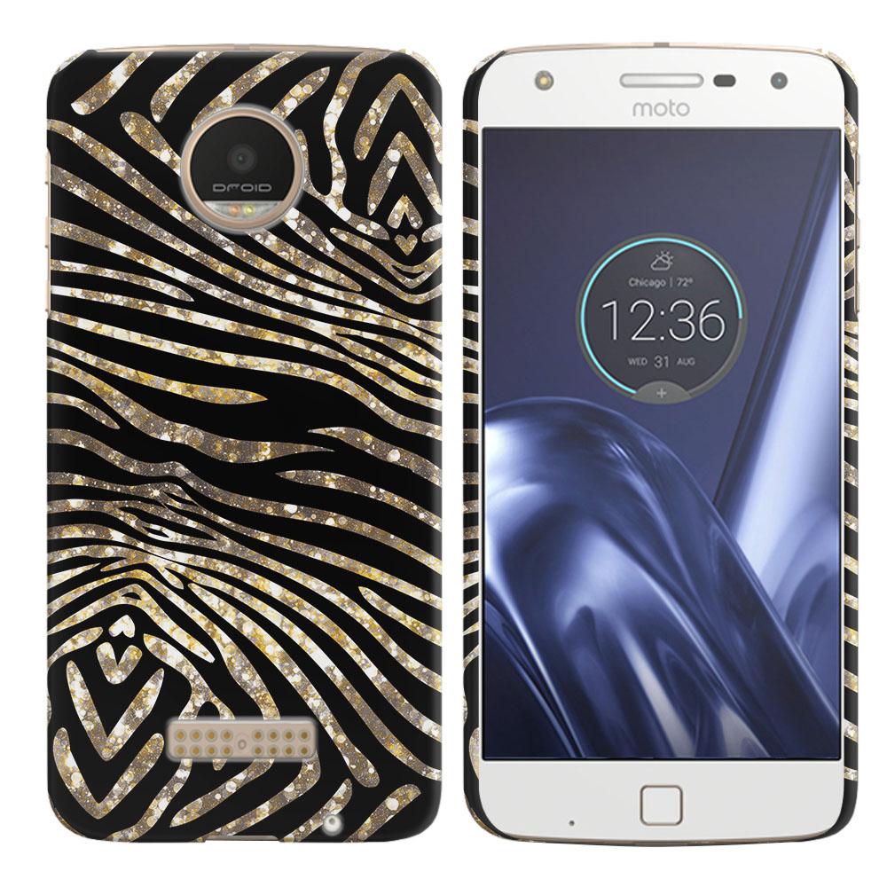 Motorola Moto Z Play Droid XT1635 Zebra Stripes Gold Back Cover Case