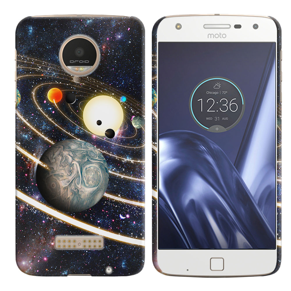 Motorola Moto Z Play Droid XT1635 Rings of Solar System Back Cover Case