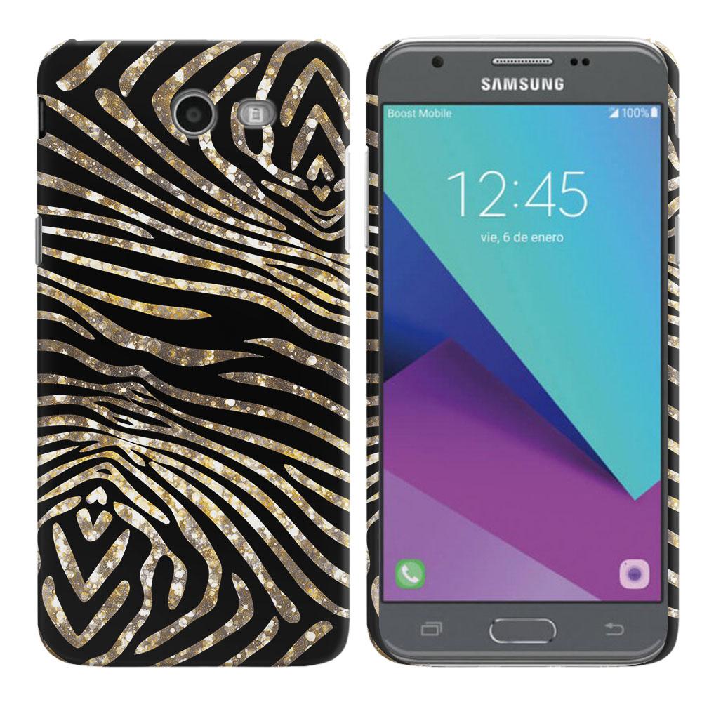 Samsung Galaxy J3 Emerge J327 2017 2nd Gen Zebra Stripes Gold Back Cover Case