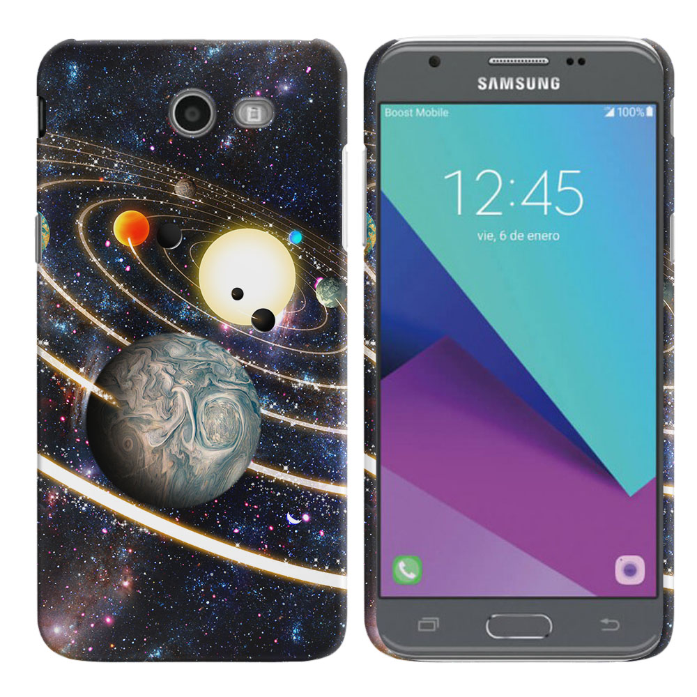 Samsung Galaxy J3 Emerge J327 2017 2nd Gen Rings of Solar System Back Cover Case